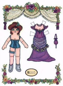 Belle, a dancehall girl paper doll