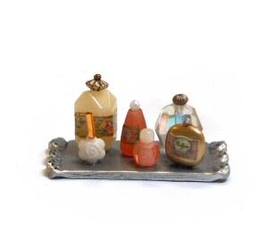 miniature bead perfume bottles and polymer clay tray